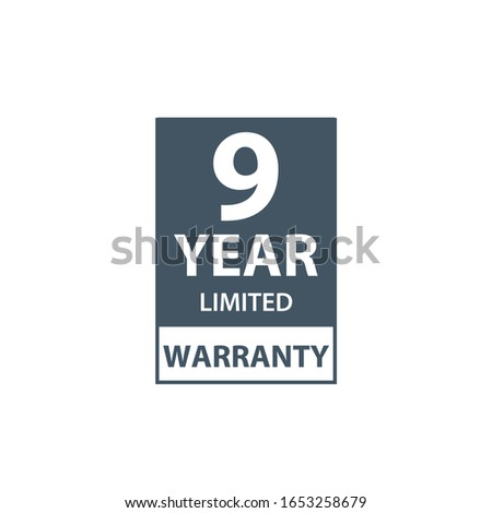 9 years limited warranty icon or label, certificate for customers, warranty stamp or sticker. vector Stock photo © kyryloff