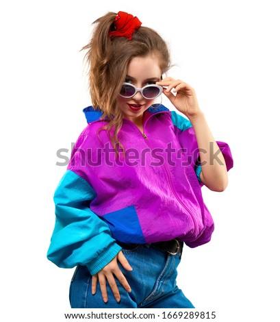 Moda nastolatek dziewczyna vintage okulary 80s Zdjęcia stock © LoopAll