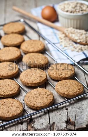 ızgara taze yulaf kurabiye rustik Stok fotoğraf © marylooo