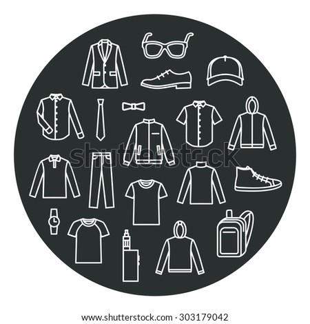 Men clothing line icons - set of garments type signs, outerwear  Stock photo © gomixer