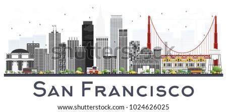 San Francisco Skyline gris bâtiments ciel bleu réflexion Photo stock © ShustrikS