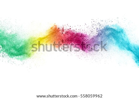 Abstract multicolored vertical powder explosion on a white background. Stock photo © artjazz