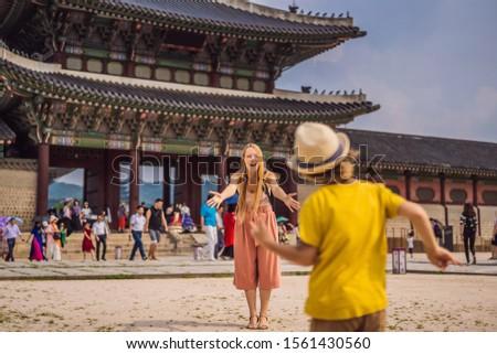 Nino turísticos palacio Seúl Corea del Sur viaje Foto stock © galitskaya