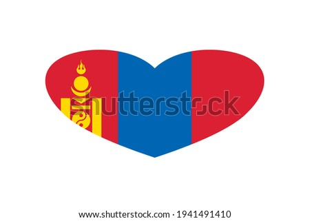 National flag of the Mongolia in the shape of a heart and the inscription I love Mongolia. Vector il Stock photo © butenkow