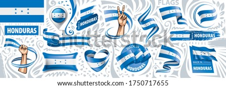Vector set of the national flag of Honduras in various creative designs Stock photo © butenkow