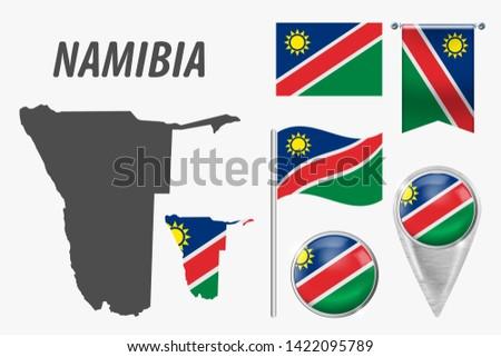 Vector establecer bandera Namibia creativa Foto stock © butenkow