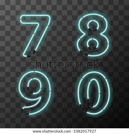 Blue realistic neon letters, vintage 7 8 9 0 letters on transparent background Stock photo © evgeny89