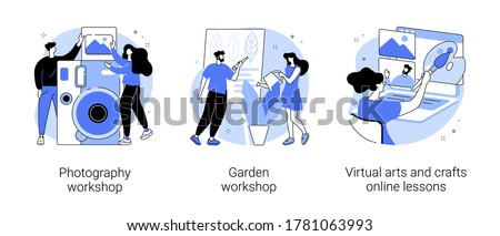 Virtual arts and crafts online lessons abstract concept vector illustration. Stock photo © RAStudio