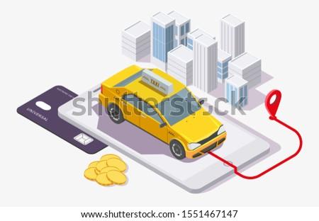 Creditcard betaling taxi diensten online isometrische Stockfoto © pikepicture