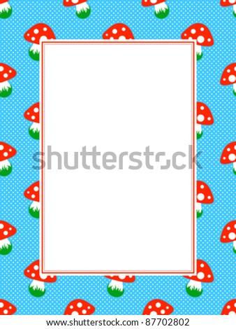 blue polka dot pattern frame with red toadstool mushroom Stock photo © adrian_n
