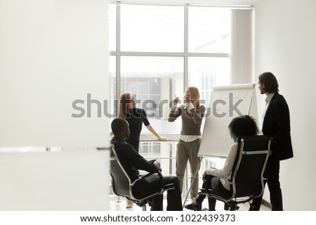 Man presenting findings on a flip chart Stock photo © photography33