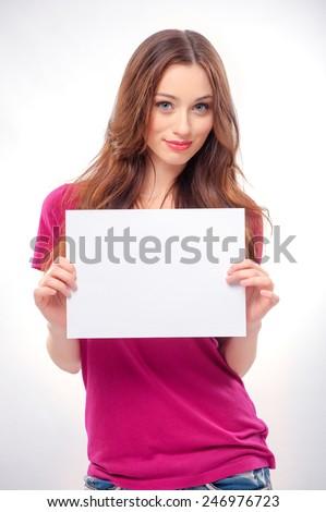 bella · donna · foglio · carta · ufficio - foto d'archivio © wavebreak_media
