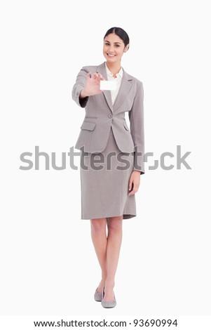 Fiatal elarusítónő mutat névjegy fehér üzlet Stock fotó © wavebreak_media