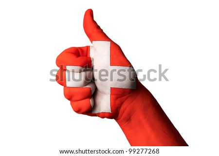 swiss national flag thumb up gesture for excellence and achievem Stock photo © vepar5