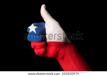 Chile Flagge Daumen up Geste Exzellenz Stock foto © vepar5