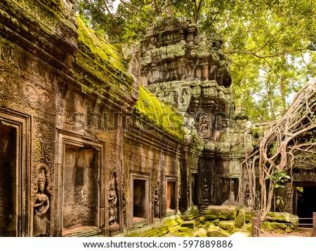 Ancient Ta Prohm or Rajavihara Temple  at Angkor, Siem Reap, Cam Stock photo © tuulijumala