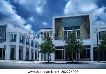 Oude geschilderd baksteen huizen zuiden Miami Stockfoto © meinzahn