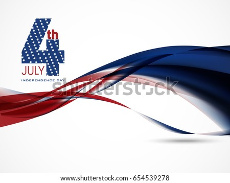 4th of july United States of America with stylish wave backgroun Stock photo © bharat