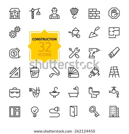 Outline icons set. Construction Stock photo © netkov1