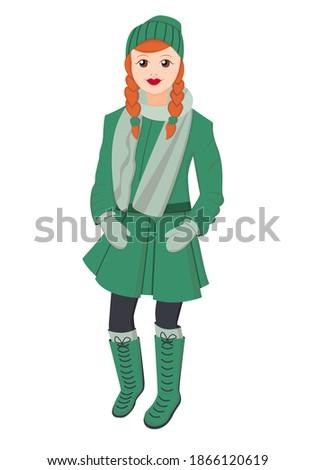 mujer · rojo · abrigo · lana · CAP · guantes - foto stock © adamr