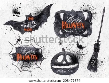 halloween set drawn halloween symbols pumpkin broom bat spider webs doodle style isolated on w stock photo © khabarushka