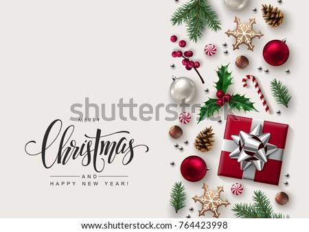 Noël babiole flocon de neige carte joyeux ciel Photo stock © fenton