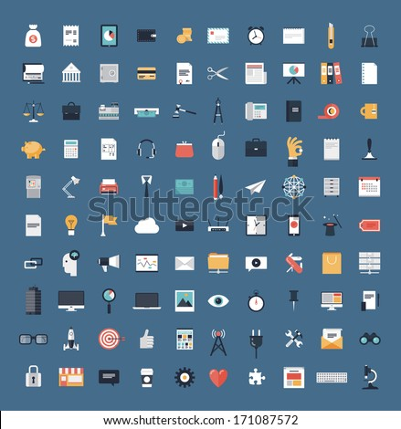 Flat icons design modern vector illustration big set of various financial service items, web and tec Stock photo © Photoroyalty