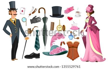 set elegant retro style corsets. Collection of fashion lingerie Stock photo © Margolana