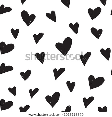 Hand-Drawn Hearts Seamless Background - Cartoon Vector Elements, Thick and Thin Stock photo © Loud-Mango