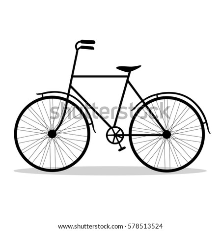 Foto stock: Retro · bicicleta · silhueta · ícone · isolado · branco
