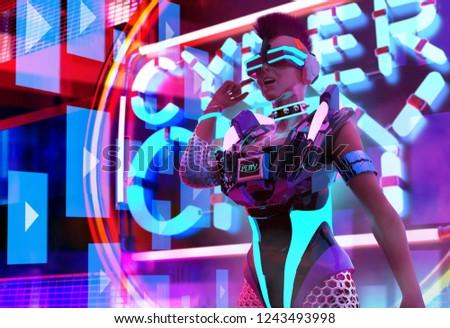 lány · hang · tányér · fekete · sziluett · tánc - stock fotó © oxygen64