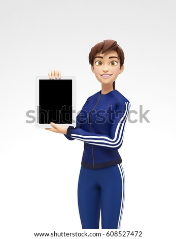 Happy woman character with tablet. Pleasantly smiling business g Stock photo © NikoDzhi
