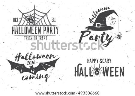 happy halloween logotype grunge stamp letters and scary elemen stock photo © pashabo