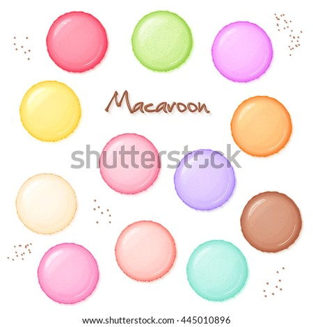 Colourful Macarons Vector. Top View. Tasty Sweet French Macaroons On Blue Background Illustration. Stock photo © pikepicture