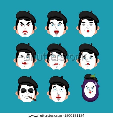 mime angry emotion avatar pantomime evil emoji mimic face vec stock photo © popaukropa