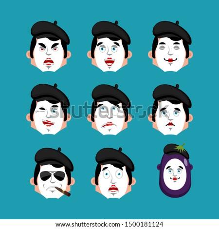 Mime angry emotion avatar. pantomime evil emoji. mimic face. Vec Stock photo © popaukropa