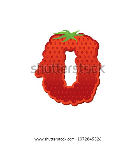 Number 0 Strawberry font. Red Berry lettering zero alphabet. Fru Stock photo © popaukropa