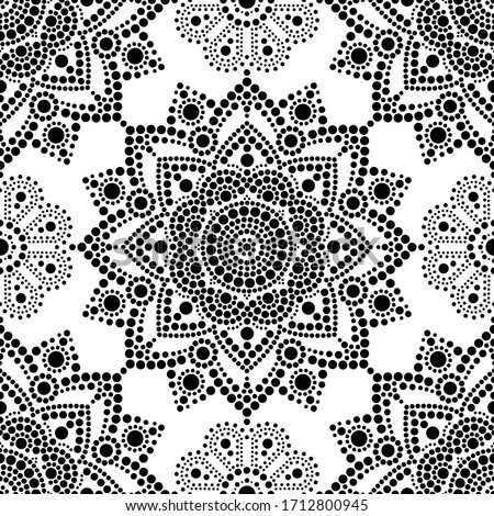 Seamless vector pattern Aboriginal dot painting, Mandala repetitive design, Australian folk art back Stock photo © RedKoala