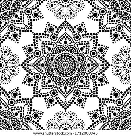 Stock photo: Seamless Vector Pattern Aboriginal Dot Painting Mandala Repetitive Design Australian Folk Art Back