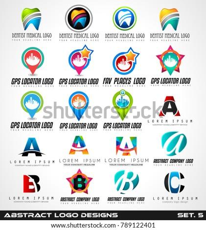 collection of dentist and medical clinic logo designs gps symb stock photo © davidarts