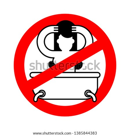 Stop girl in bath. Red Prohibition sign of danger. Ban Wash. Vec Stock photo © MaryValery