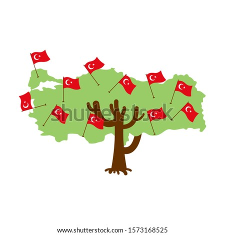 Patriotic tree Turkey map. Turkish flag. National political Plan Stock photo © popaukropa