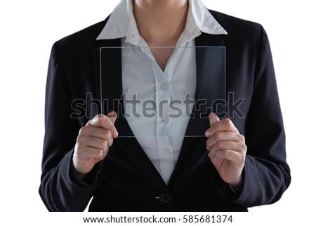 Mid section of businesswoman pretending to use digital tablet Stock photo © wavebreak_media