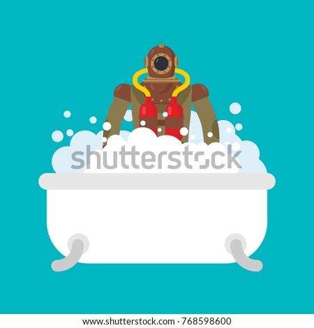 Diver in bath. Retro Underwater diver in bathroom. Vector illust Stock photo © MaryValery