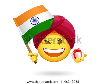 Patriotic Yellow Cartoon Emoji Face Character Waving An Canadian Flag Stock photo © hittoon