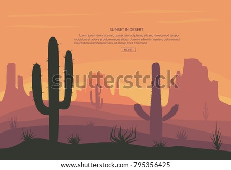 Desert landscape Cactus and mountains , sunset in cannon, Background scene with stones and sand. Vec Stock photo © Andrei_