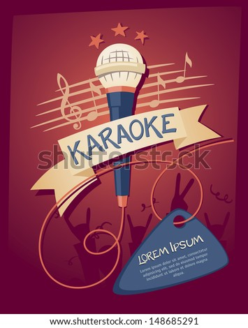 vector flyer illustration on a karaoke party theme with microphones and ribbon on violet background stock photo © articular