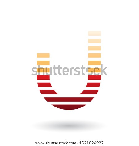 Orange and Red Letter U Icon with Horizontal Thin Stripes Vector Stock photo © cidepix