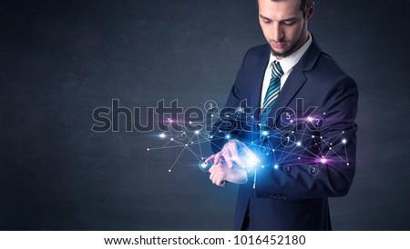 netwerken · man · hand · technologie · zakenman - stockfoto © ra2studio