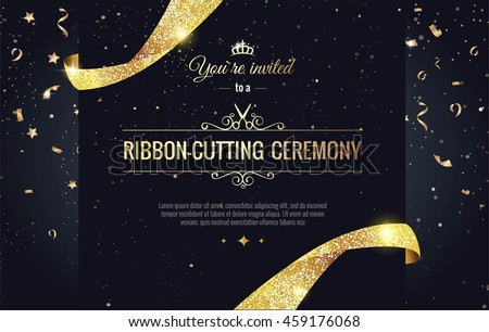 Congratulations. Celebration background  template with gold confetti and gold garland. Vector illust Stock photo © olehsvetiukha